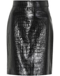 ddc1d86d0 Gucci Embossed Leather Pencil Skirt