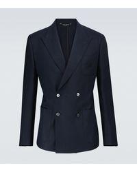 Dolce & Gabbana Blazer de lino de botonadura doble - Azul
