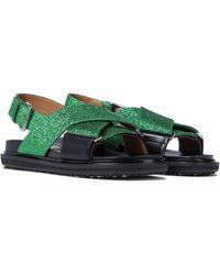 Marni Sandalen mit Gitter - Braun