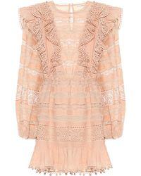 Ulla Johnson Jolie Cotton-blend Minidress - Pink