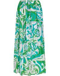 Emilio Pucci Falda larga de algodón estampada - Verde