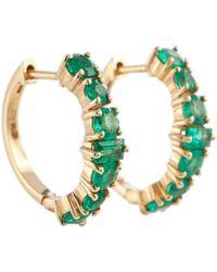 Ileana Makri Orecchini a cerchio Rivulet in oro 18kt con smeraldi - Metallizzato