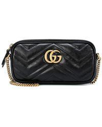 Gucci Gg Marmont 2.0 Leather Shoulder Bag - Black