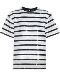Polo Ralph Lauren Striped Sequined T-shirt - White