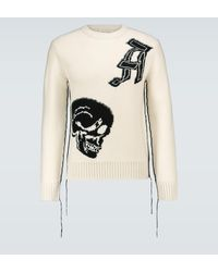 Alexander McQueen Wool Jacquard Patched Skull Sweater - Multicolour
