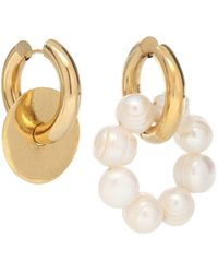 Timeless Pearly Mismatched 24kt Gold-plated And Faux Pearl Hoop Earrings - Metallic