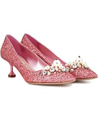 49249064173 Lyst - Miu Miu Glitter Sole Kitten Heel Pumps in Metallic
