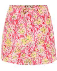 Marni Floral Silk-crêpe Shorts - Pink