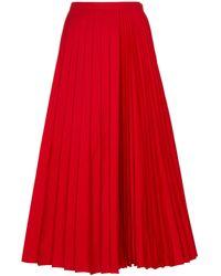 Valentino Falda midi plisada - Rojo