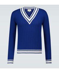 Gucci Gestreifter Pullover aus Wolle - Blau