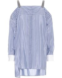 Brunello Cucinelli Top off-the-shoulder in cotone - Blu