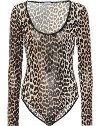 Ganni Leopard-print Bodysuit - Brown