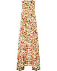 Plan C Sleeveless Floral Maxi Dress - White