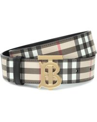 Burberry Tb Check Leather-trimmed Belt - Multicolour