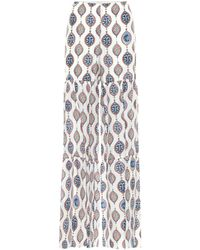 Chloé Pantalones anchos de seda habutai - Blanco