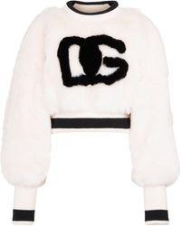 Dolce & Gabbana Sudadera de pelo sintético cropped - Negro