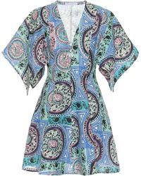 JW Anderson Robe imprimée en lin - Bleu