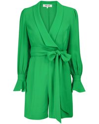 Diane von Furstenberg Mono Ina de georgette con cinturón - Verde