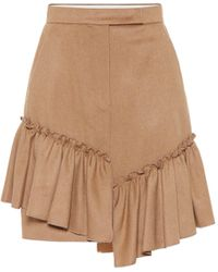 Max Mara Pulcino Ruffle-trimmed Camel Hair Skirt - Brown
