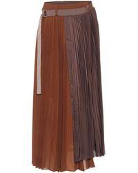 Sacai Pleated Asymmetric Midi Skirt - Brown