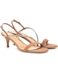 Gianvito Rossi Exclusive To Mytheresa – Manhattan 55 Suede Sandals - Natural