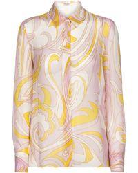Emilio Pucci Bedruckte Bluse aus Seidenchiffon - Pink