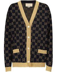 Gucci Cardigan en coton mélangé - Bleu