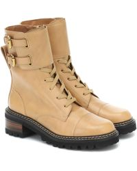 See By Chloé Mallory Leather Ankle Boots - Natural