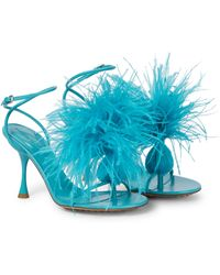 Bottega Veneta Dot Feather-trimmed Leather Sandals - Blue
