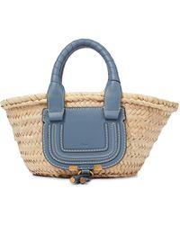 Chloé Marcie Mini Raffia Basket Bag - Blue