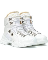 Gucci Flashtrek High-top Leather Sneakers - White