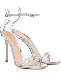Gianvito Rossi Crystal Plexi 105 Sandals - Metallic