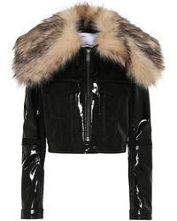 Paco Rabanne Faux Fur-trimmed Vinyl Jacket - Black