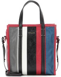 Balenciaga - Bazar Small Striped Leather Shopper Tote Bag - Lyst