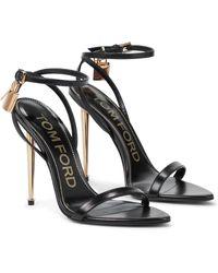 Tom Ford Verzierte Sandalen Padlock aus Leder - Schwarz