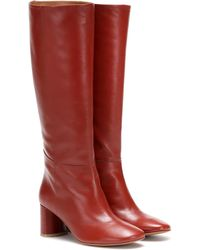 LOQ Donna Knee-high Leather Boots - Red