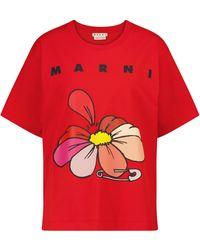 Marni Logo Cotton T-shirt - Red
