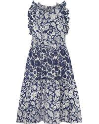 Ulla Johnson Talita Floral Denim Dress - Blue