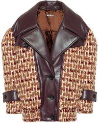 Miu Miu - Veste en tweed de laine et cuir - Lyst