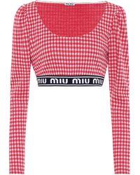Miu Miu Crop top en mezcla de lana - Rojo