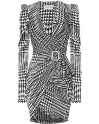 Alexandre Vauthier - Houndstooth Stretch Silk Minidress - Lyst