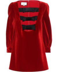 Gucci Velvet Minidress - Red
