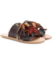 See By Chloé - Tasselled Leather Slides - Lyst