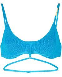 Jacquemus Le Bandeau Sierra Linen Bralette - Blue