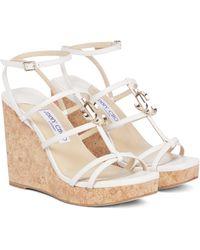 Jimmy Choo Jc 110 Leather Wedge Sandals - White