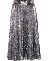 Dolce & Gabbana Gonna midi plissé con paillettes - Grigio