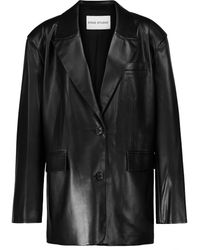 Stand Studio Sylvia Faux Leather Blazer - Black