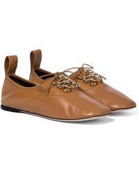 Loewe Anagram Leather Derby Shoes - Brown