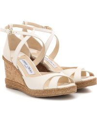 Jimmy Choo Alanah 80 Leather Wedge Sandals - White