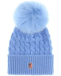 3 MONCLER GRENOBLE Fur-trimmed Wool Beanie - Blue